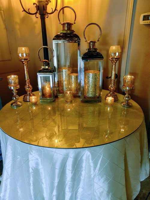 Large silver and gold lanterns with bling