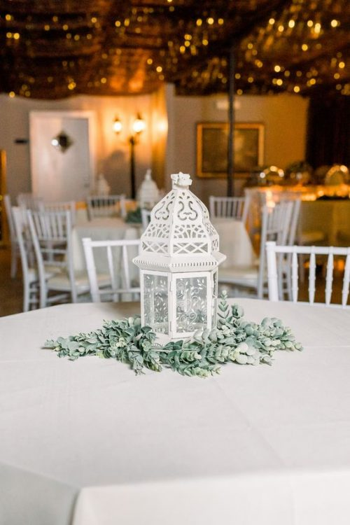 Off White Lantern with Faux Greenery